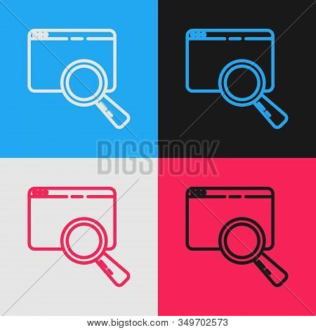 Color Line Search In A Browser Window Icon Isolated On Color Background. Vintage Style Drawing. Vect
