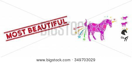 Mosaic Farting Unicorn Icon And Red Most Beautiful Rubber Print Between Double Parallel Lines. Flat