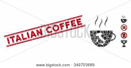 Mosaic Italian Coffee Cup Icon And Red Italian Coffee Watermark Between Double Parallel Lines. Flat
