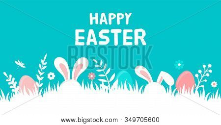 Happy Easter Banner With Bunny, Flowers And Eggs. Egg Hunt Poster. Spring Background In Modern Style