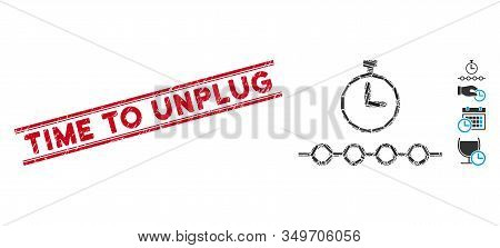 Mosaic Marked Timeline Pictogram And Red Time To Unplug Seal Stamp Between Double Parallel Lines. Fl