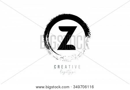 Black Letter Grunge Circle Z Alphabet Logo Icon Design Template For Company Business. Suitable For L