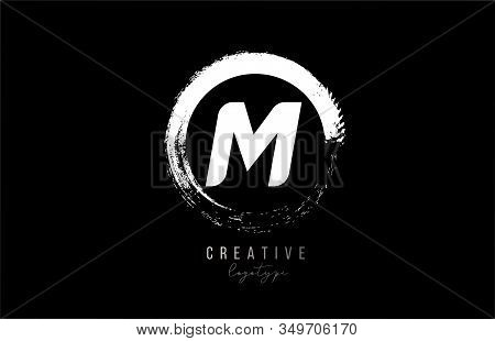 Company Business M Letter Alphabet Circle Logo Black Grunge Icon Design Template Company. Suitable F