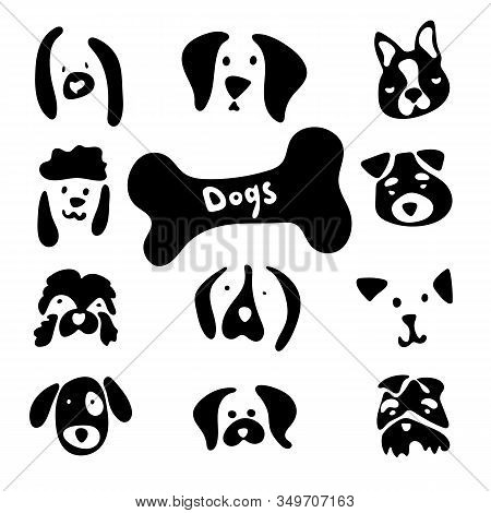 Dog Breed Stock Set With Cartoon Emotions And Lovely Faces. Vector Images Of Dogs Head On White Back
