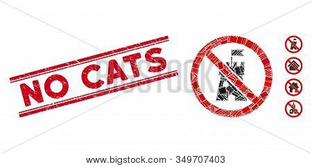 Mosaic No Bastion Icon And Red No Cats Rubber Print Between Double Parallel Lines. Flat Vector No Ba