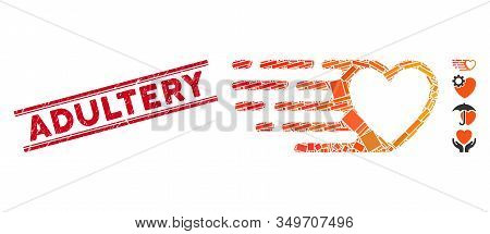 Mosaic Fast Love Heart Pictogram And Red Adultery Seal Stamp Between Double Parallel Lines. Flat Vec