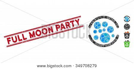 Mosaic Full Pictogram And Red Full Moon Party Seal Stamp Between Double Parallel Lines. Flat Vector