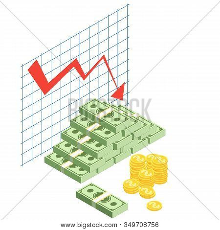 Money Loss Vector Illustration Cash With Down Arrow Stocks Graph. Bad Finance Graph. Financial Crisi