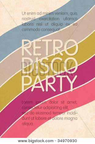 Retro disco party. Abstract flyer design template, vector, EPS10