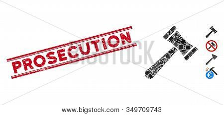 Mosaic Law Hammer Pictogram And Red Prosecution Seal Between Double Parallel Lines. Flat Vector Law
