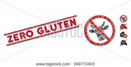 Mosaic No Beef Icon And Red Zero Gluten Seal Between Double Parallel Lines. Flat Vector No Beef Mosa