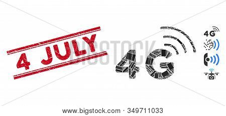 Mosaic 4g Pictogram And Red 4 July Seal Stamp Between Double Parallel Lines. Flat Vector 4g Mosaic P