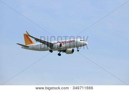 Amsterdam, The Netherlands - March 31st, 2017: Tc-nbi Pegasus Airbus A320neo Approaching Polderbaan