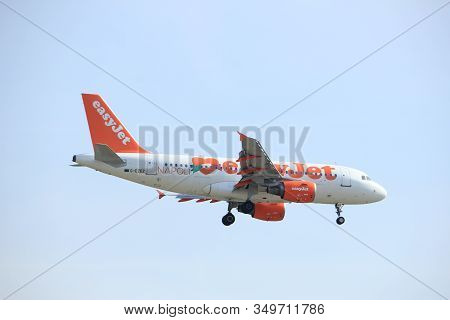 Amsterdam, The Netherlands - March 31st, 2017: G-ezez Easyjet Airbus A319-100 Approaching Polderbaan