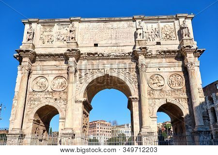 The Arch Of Constantine Near The Colosseum In Rome, Italy