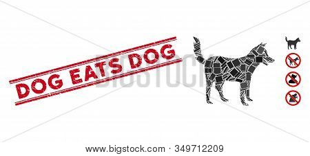 Mosaic Dog Icon And Red Dog Eats Dog Rubber Print Between Double Parallel Lines. Flat Vector Dog Mos