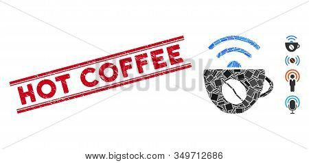 Mosaic Coffee Wifi Source Icon And Red Hot Coffee Stamp Between Double Parallel Lines. Flat Vector C