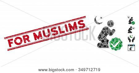Mosaic For Muslims Pictogram And Red For Muslims Seal Stamp Between Double Parallel Lines. Flat Vect