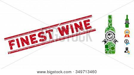 Mosaic Finest Wine Pictogram And Red Finest Wine Seal Stamp Between Double Parallel Lines. Flat Vect