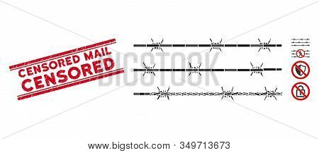 Mosaic Barbwire Fence Icon And Red Censored Mail Stamp Between Double Parallel Lines. Flat Vector Ba