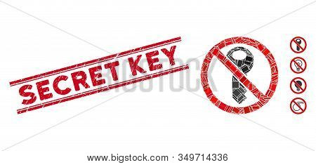 Mosaic No Secret Key Pictogram And Red Secret Key Seal Stamp Between Double Parallel Lines. Flat Vec