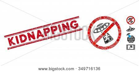 Mosaic No Ufo Abduction Icon And Red Kidnapping Stamp Between Double Parallel Lines. Flat Vector No