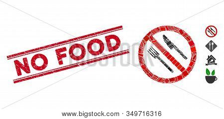 Mosaic No Food Icon And Red No Food Seal Stamp Between Double Parallel Lines. Flat Vector No Food Mo
