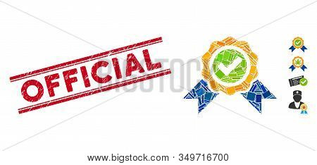 Mosaic Official Pictogram And Red Official Stamp Between Double Parallel Lines. Flat Vector Official