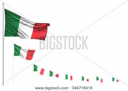 Wonderful Italy Isolated Flags Placed Diagonal, Image With Soft Focus And Place For Your Content - A