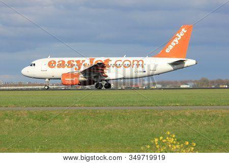 Amsterdam The Netherlands - April 7th, 2017: G-ezbm Easyjet Airbus A319 Takeoff From Polderbaan Runw