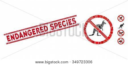 Mosaic No Kangaroo Icon And Red Endangered Species Stamp Between Double Parallel Lines. Flat Vector