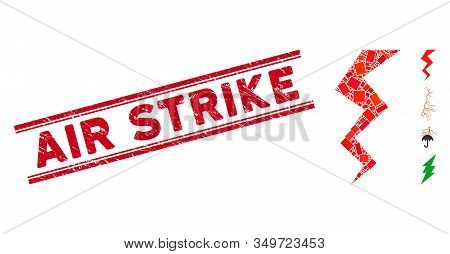 Mosaic Zigzag Strike Icon And Red Air Strike Seal Stamp Between Double Parallel Lines. Flat Vector Z