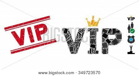 Mosaic Vip Icon And Red Vip Seal Stamp Between Double Parallel Lines. Flat Vector Vip Mosaic Icon Of