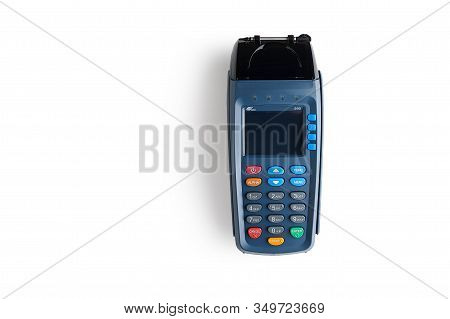 Moscow, Russia - January 5, 2020, Wireless Credit Card Payment Pos Terminal Pax On A White Backgroun