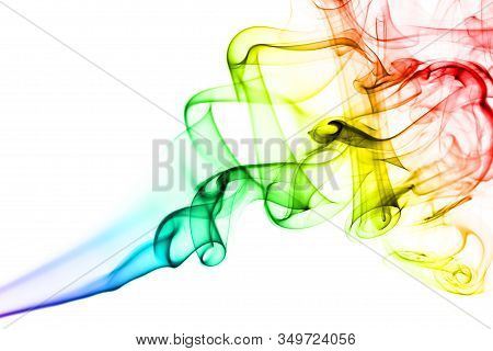 Rainbow Smoke On White Background. Smoke Goes From Bottom To Top. Smoke Spirals Closer To Top Of The
