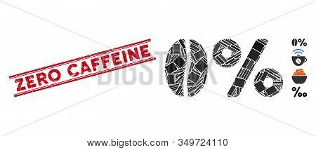 Mosaic Zero Caffeine Pictogram And Red Zero Caffeine Rubber Print Between Double Parallel Lines. Fla