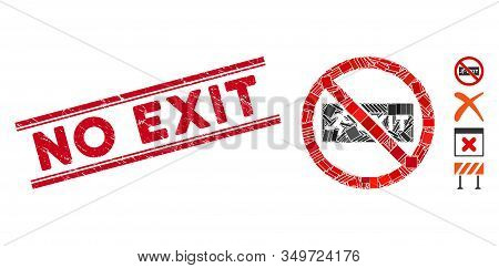 Mosaic No Exit Icon And Red No Exit Seal Between Double Parallel Lines. Flat Vector No Exit Mosaic I
