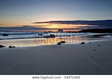 Sunrise on Bass Rockat Coldingham Bay, Berwickshire, Scotland