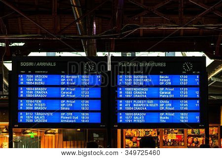 Digital Arrivals And Departures Board On The Main Railway Station Of Romania, Bucharest North Railwa