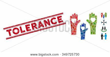 Mosaic Tolerance Hands Icon And Red Tolerance Stamp Between Double Parallel Lines. Flat Vector Toler