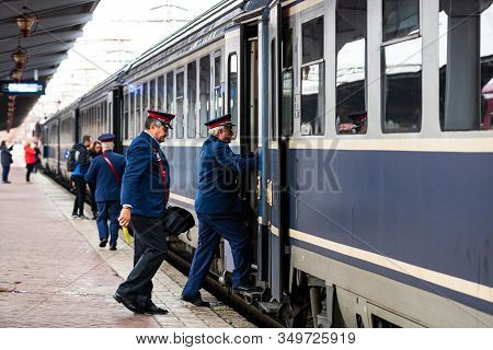 Train Crew Doing The Last Checking On The Platform At The Bucharest North Railway Station (gara De N