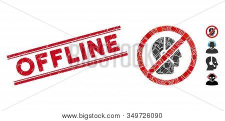 Mosaic No Telemarketing Operator Pictogram And Red Offline Seal Stamp Between Double Parallel Lines.