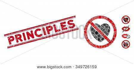 Mosaic No Love Pictogram And Red Principles Rubber Print Between Double Parallel Lines. Flat Vector