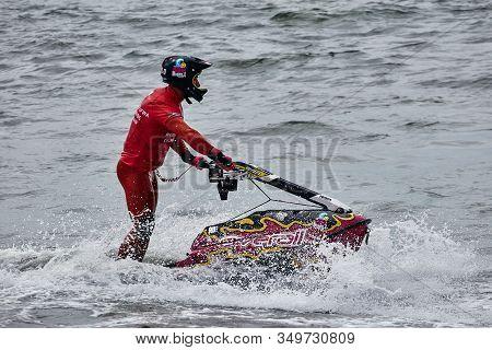 Professional Jet Ski Riders Compete At The Ifwa World Tour Jet Ski Championship. Contestants Perform