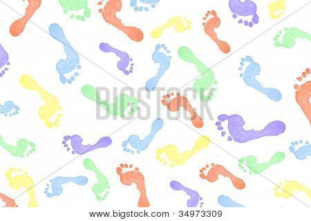 Lots of multi colored footprints against a white background
