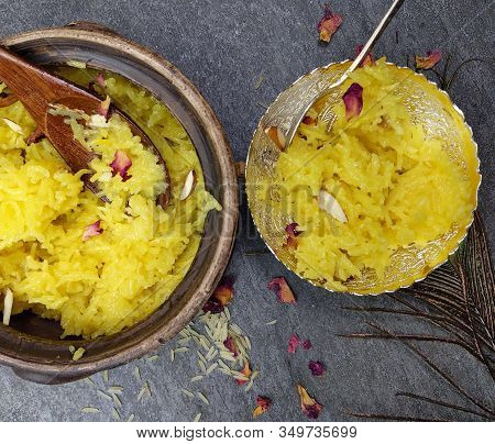 Top Down View Of Zarda Pulao Or Sweet Rice Or Meethe Chawal