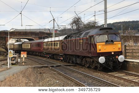 Penrith, England - March 02:  A Class 47 Diesel Locomotive Heads The Statesman Southbound Through Pe