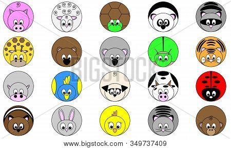 Collection Of Twenty Cute Funny Round Vector Illustrated Animal Sticker Icon Buttons In Bright Color