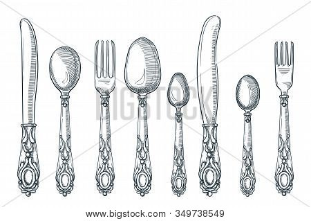 Table Silver Vintage Cutlery. Vector Hand Drawn Sketch Illustration. Silverware Spoon, Knife And For