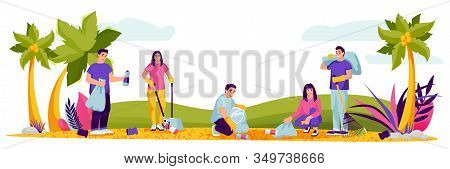 People Cleaning Plastic Garbage On Public Beach. Vector Illustration. Environment, Ecology Lifestyle